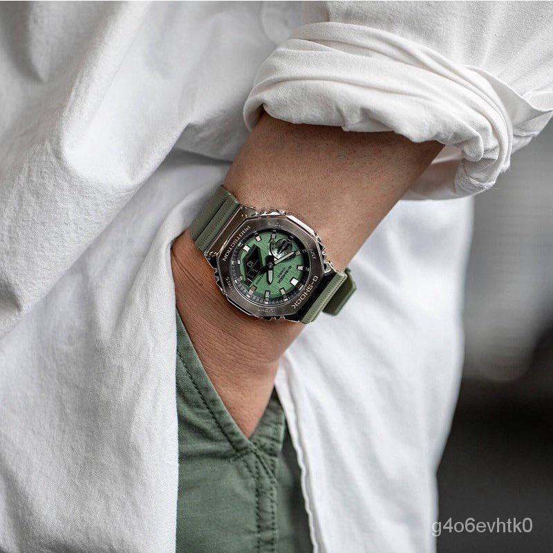 卡西歐casio 金屬八角農家橡樹手錶GM-2100 GM-2100B-3A XZcE