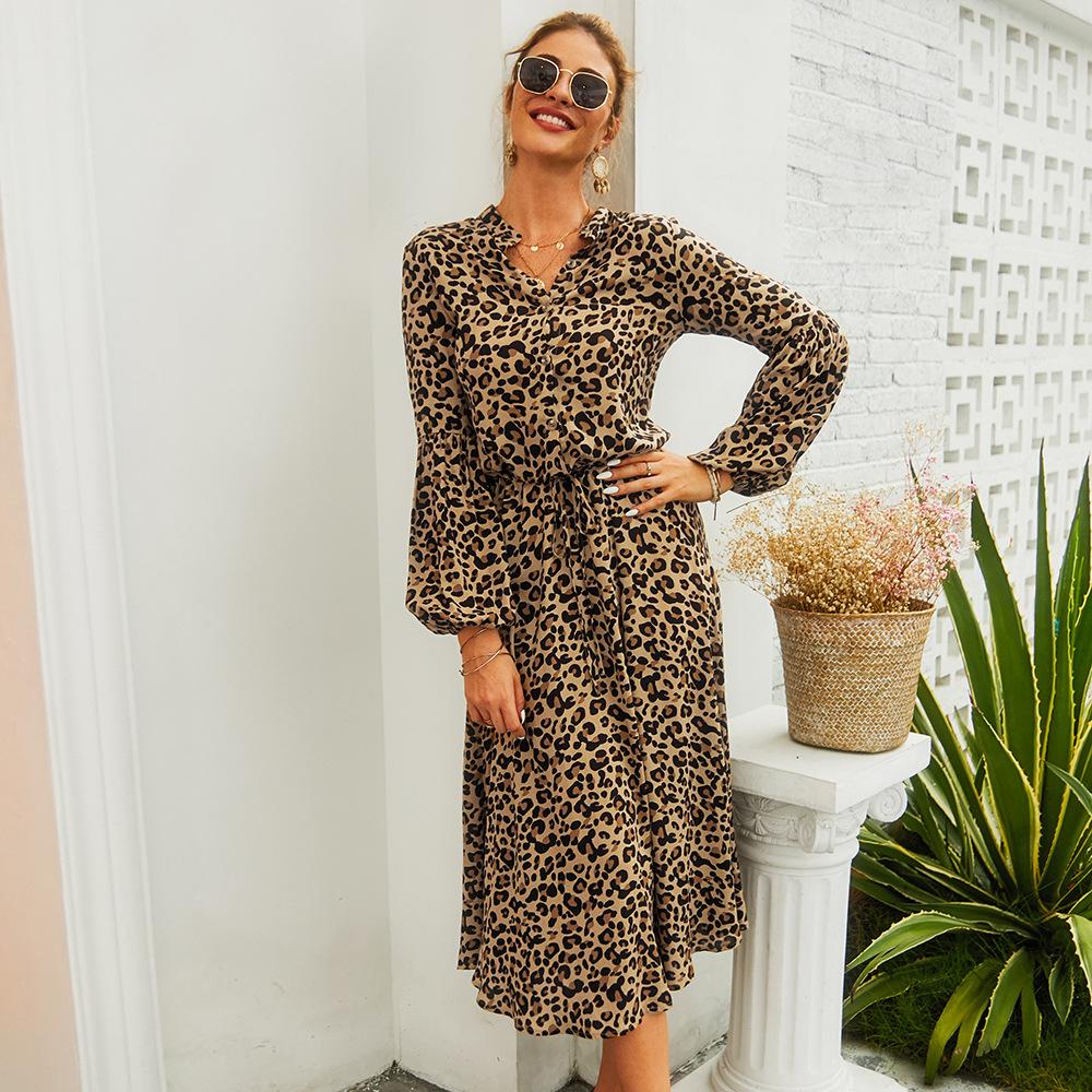 春夏女2020新款豹紋長袖中長款連衣裙