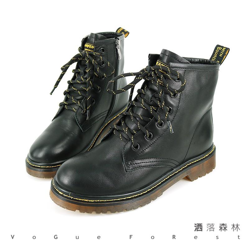 【GDC】女 / 真皮素色百搭韓風馬丁短靴 - 028815- 黑色/米白