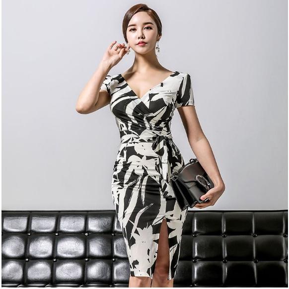 正韓輕熟深V洋裝 印花短袖開叉洋裝 彈力修身縮皺綁帶洋裝 宴會禮服