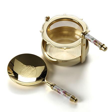 現貨日本進口Wedgwood Minton明頓鍍金茶勺骨瓷茶濾高檔濾茶器