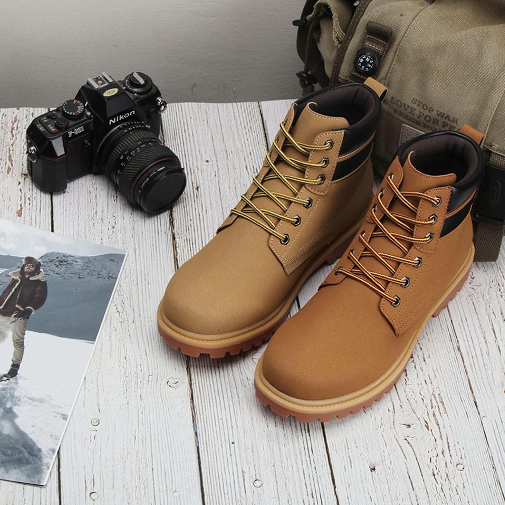 強磅重擊經典黃靴 2EU59 休閒靴 低跟中筒靴 男生中筒靴 黃靴 綁帶中筒靴 男生平底靴 布面靴子 平底休閒靴 低跟靴