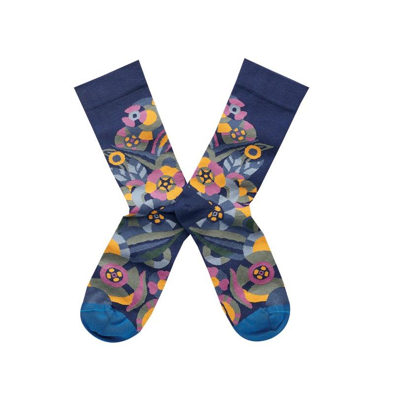 法國Bonne Maison Blue Flower憂鬱花中統襪TT9-01