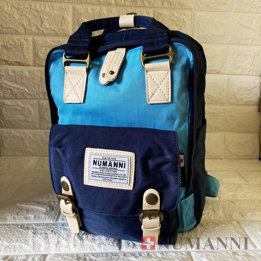 NG出清含運【NUMANNI 奴曼尼】小款馬卡龍色系帆布後背包後背包75-618-淺藍+寶藍(NG品)
