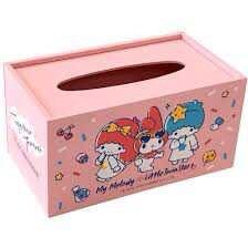 【ToGo童購】MMxTS 45th多功能收納盒 HELLO KITTY  美樂蒂雙子星 木製面紙盒 多功能收納盒