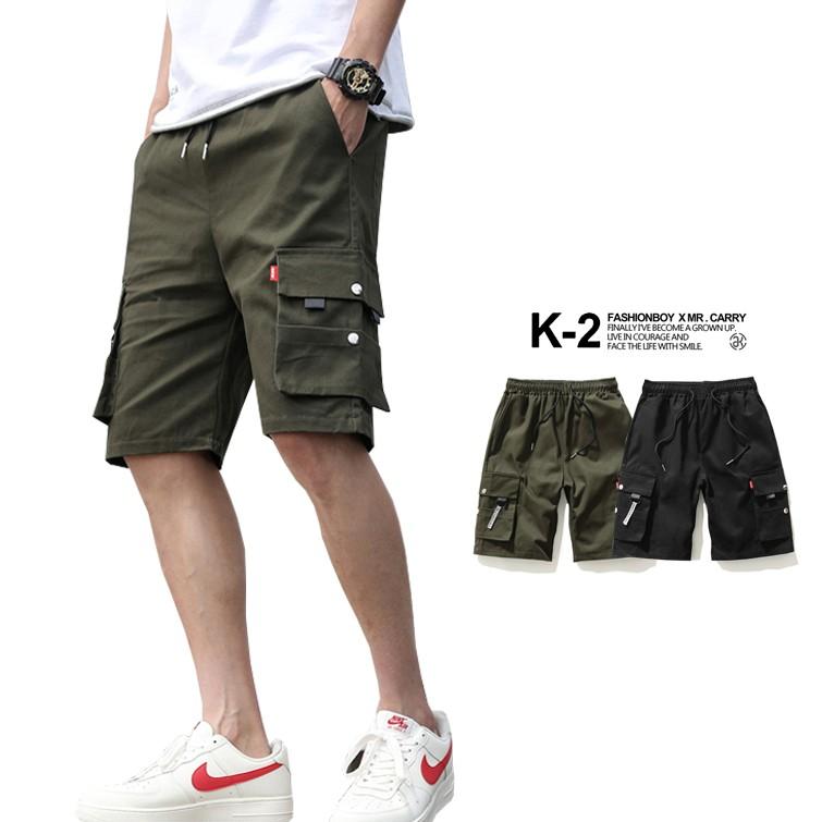 【K-2】Tactics 傘兵 戰術 工作褲 短褲 緞帶褲 休閒短褲 鬆緊抽繩 暗黑 男女不拘 工裝短褲【B253】