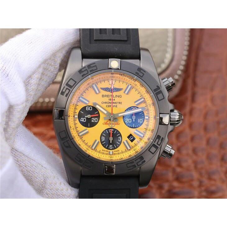Breitling百年靈計時系列黑鋼黃盤全自動機械腕錶男士腕錶免運