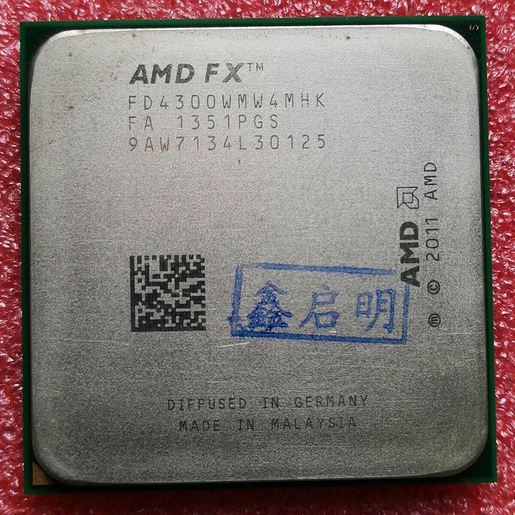 Amd FX-4300 FX4300 CPU FD4300WMW4MHK 3.8GHZ 四核插槽 AM3 + 95W 處