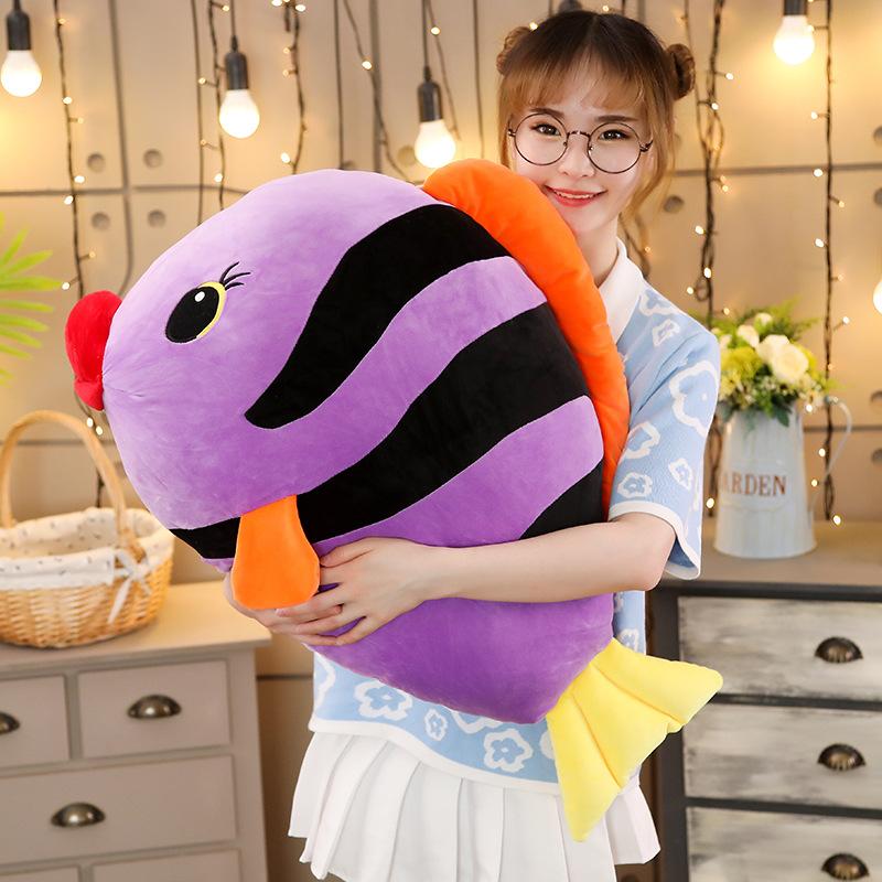 冰雪女王~軟體熱帶魚抱枕公仔毛絨玩具枕頭可愛懶人魚娃娃玩偶萌睡覺抱女孩