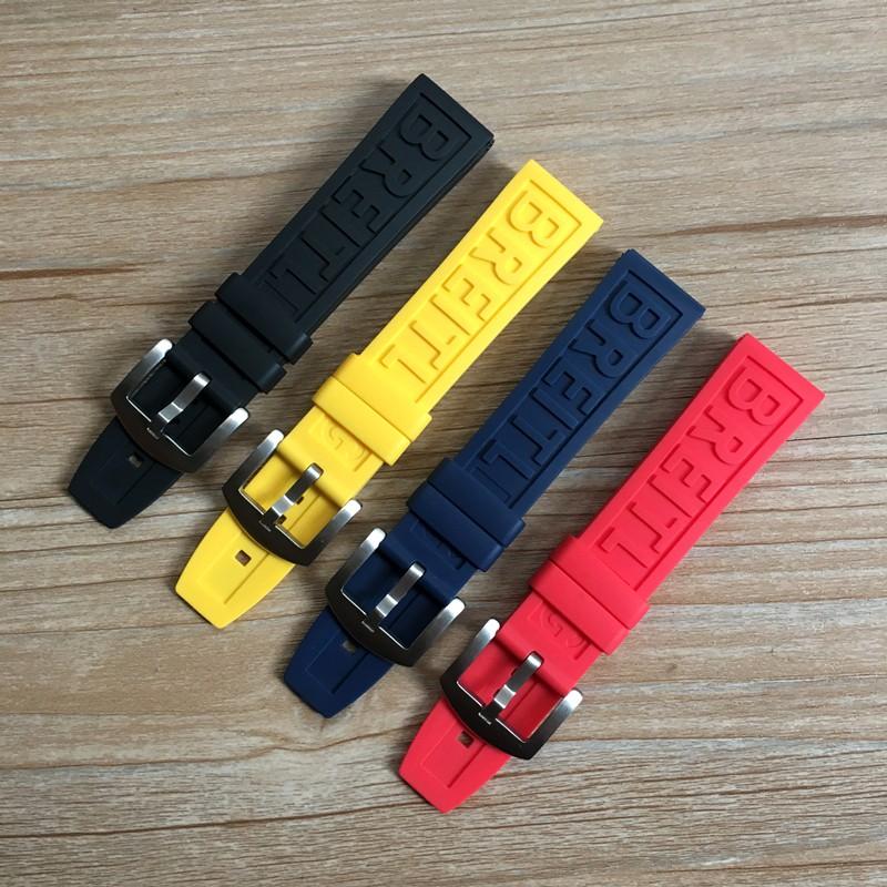 Breitling Avenger 橡膠錶帶 22 24 毫米黑鳥黃狼紅色藍色軟矽膠手鍊錶帶