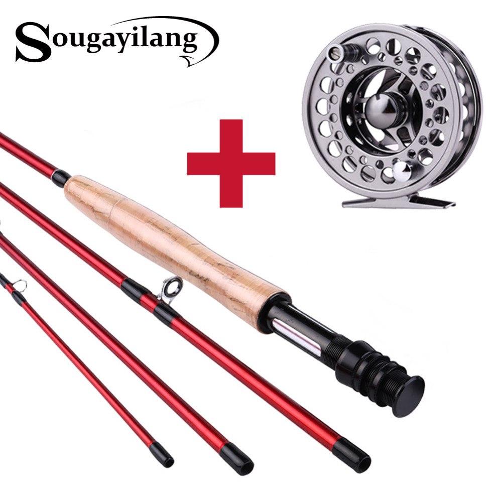 Sougayilang 2.7米飛蠅竿和银色黑色釣魚捲軸組合 4節红色碳纤维材料釣魚竿戶外旅行釣魚用品 飛釣竿釣魚漁具