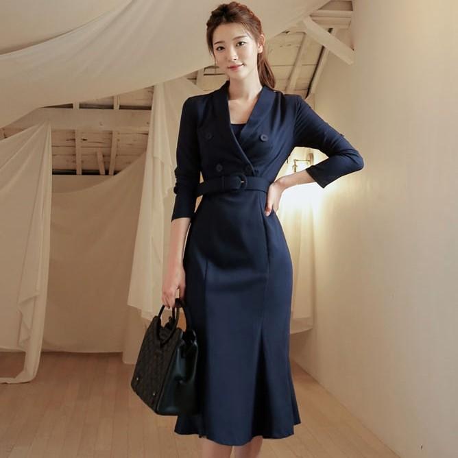 附腰帶OL氣質挺版洋裝及膝連衣裙office lady女生正韓洋裝工作裙外出尺碼洋裝