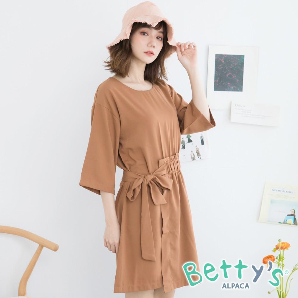 betty's貝蒂思 側腰織帶七分袖洋裝(駝色)