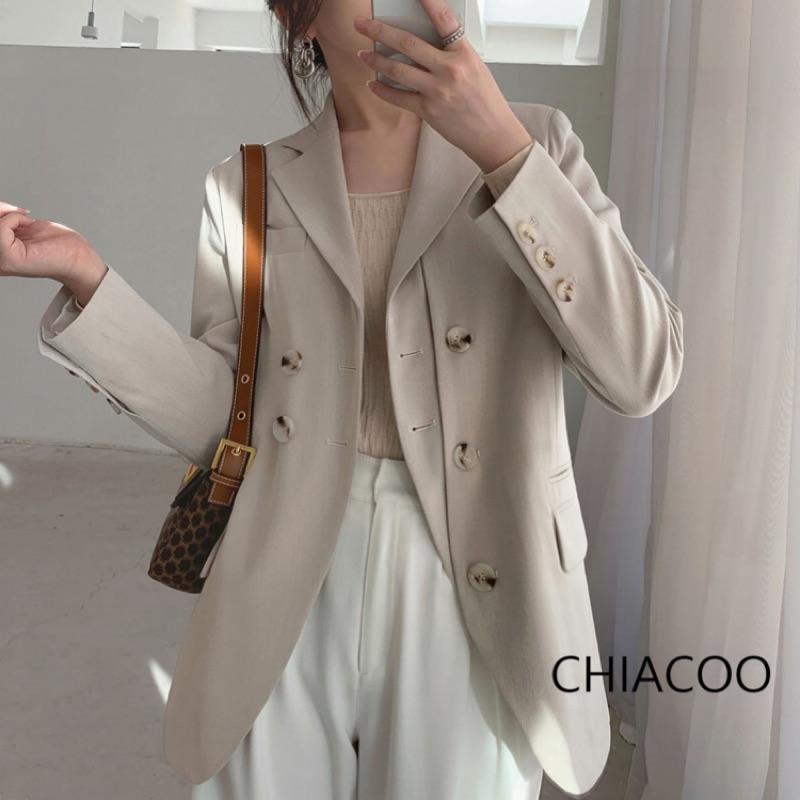 CHIACOO歐美 韓國 復古 設計款 雙門襟 長版 西裝外套 西裝 外套