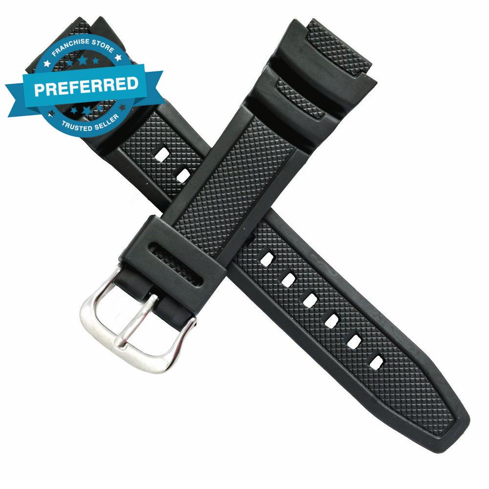 原裝卡西歐手錶帶, 用於雙傳感器 SGW 100 SGW 100 錶帶橡膠 1V 黑色 S6W4
