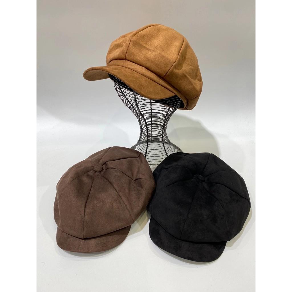 正韓復古感絨面八角帽 報童帽 貝蕾帽 帽子 畫家帽 絨面報童帽 顯瘦帽 配件 GRASS 現貨 [F181]
