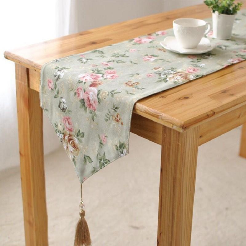 純棉帆布桌旗布 簡約現代北歐ins風蓋巾 淡雅玫瑰餐桌裝飾 輕奢奢華茶幾日式長條桌巾簡約現代北歐田園式布藝