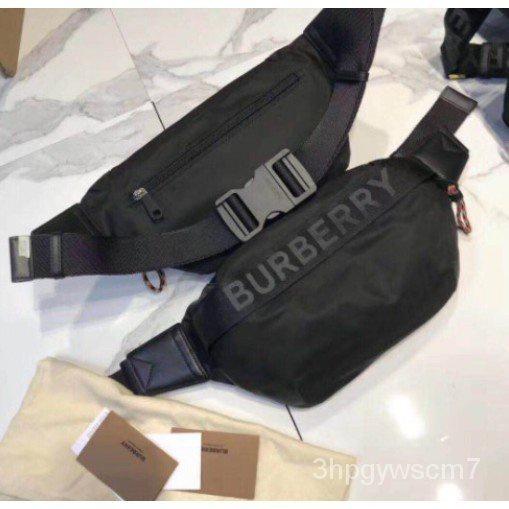 二手正品 Burberry 2019新春男女同款中號徽標裝飾拼色腰包背帶斜挎