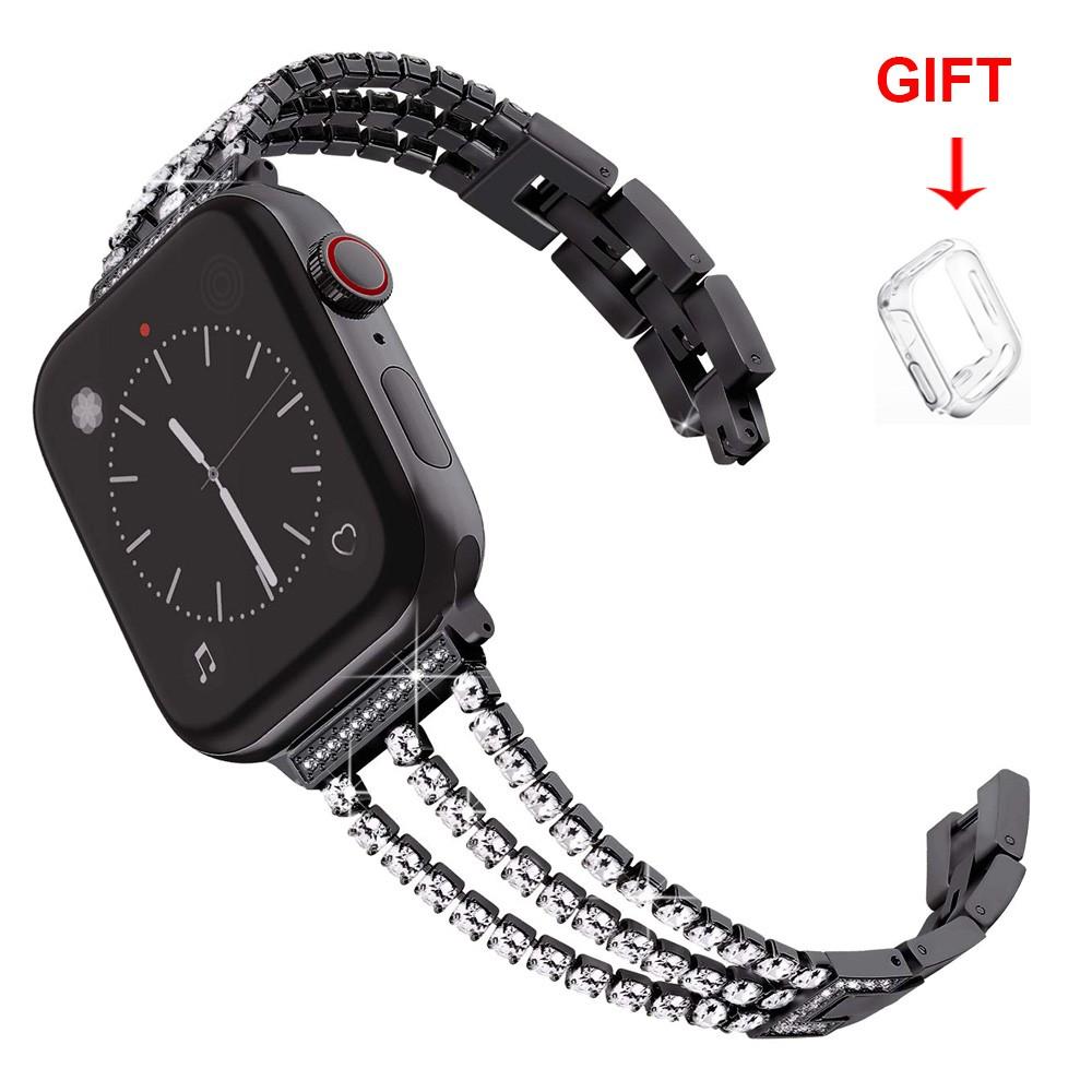Apple watch 錶帶 不鏽鋼錶帶 蘋果金屬鑲鑽錶帶5/4/3/2/1代 iwatch 38 40 42 44mm