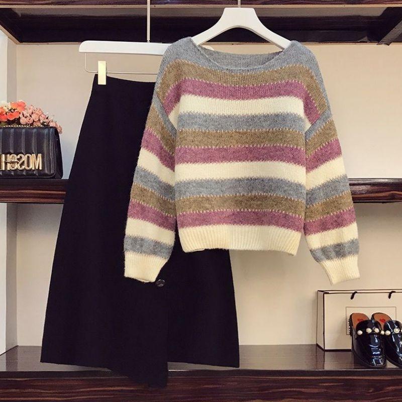秋冬新款大碼女裝時尚拼接條紋針織毛衣顯瘦遮肉半身裙兩件套