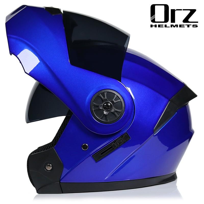 ORZ電動電瓶摩托車頭盔灰男女士全盔四季藍牙揭面盔夏季安全帽
