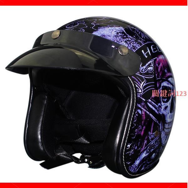 【暢銷款】VOSS復古安全帽 四季個性復古哈雷機車頭盔 摩托車4/3復古盔 加勒比海盜電動車