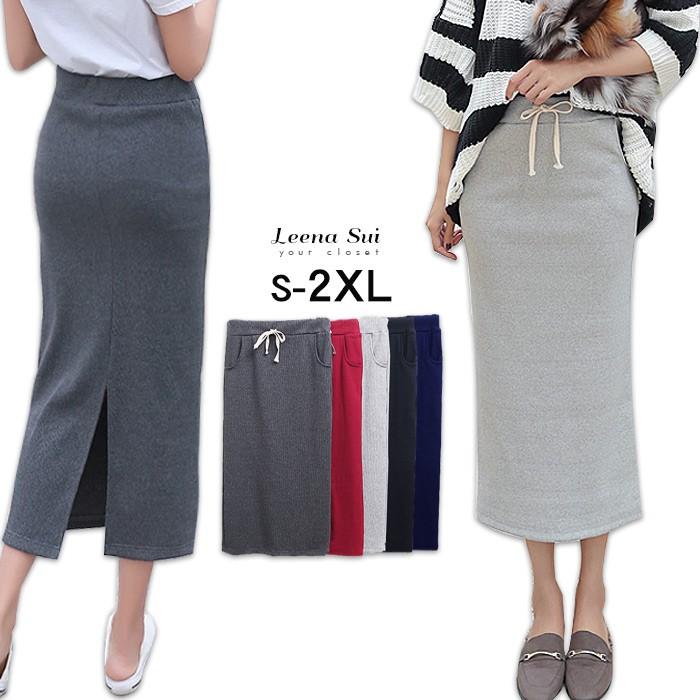 長裙 日系高腰開叉螺紋棉一步裙 鉛筆裙 包臀裙 051611