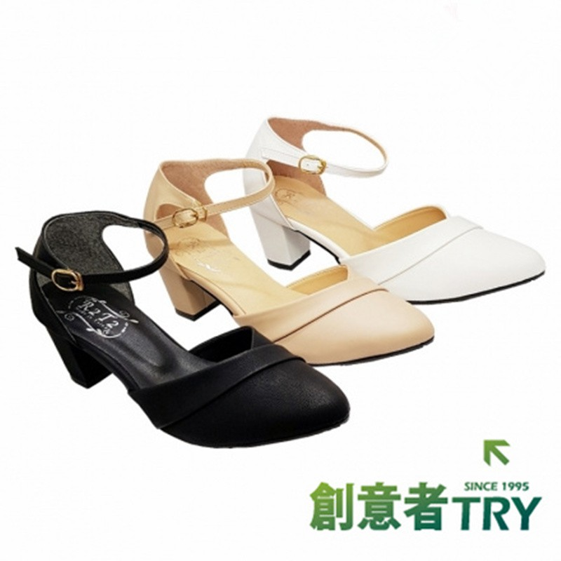 【團購更優惠】尖頭繞踝中跟包鞋 - 黑 / 白 / 米 - 原價699元