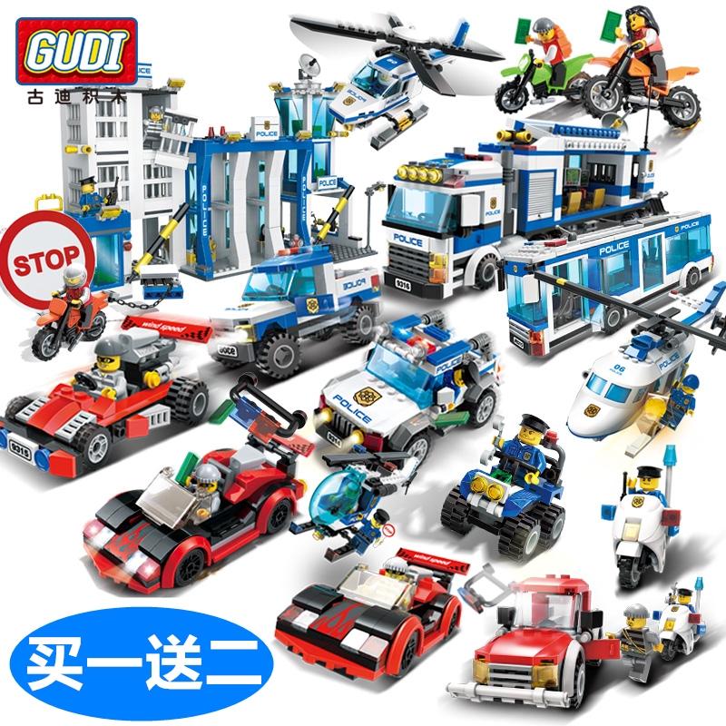 現貨  拼裝積木 兒童益智拼裝城市系列 益智拼裝警車玩具 古迪積木 兼容樂高 警察局飛機玩具男孩子警車