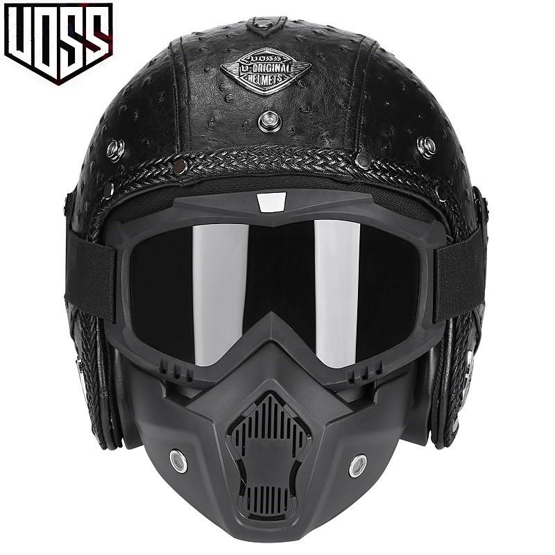 【成你夥伴】 VOSS哈雷復古頭盔半盔男女士機車頭盔安全帽電動車頭盔34盔皮盔