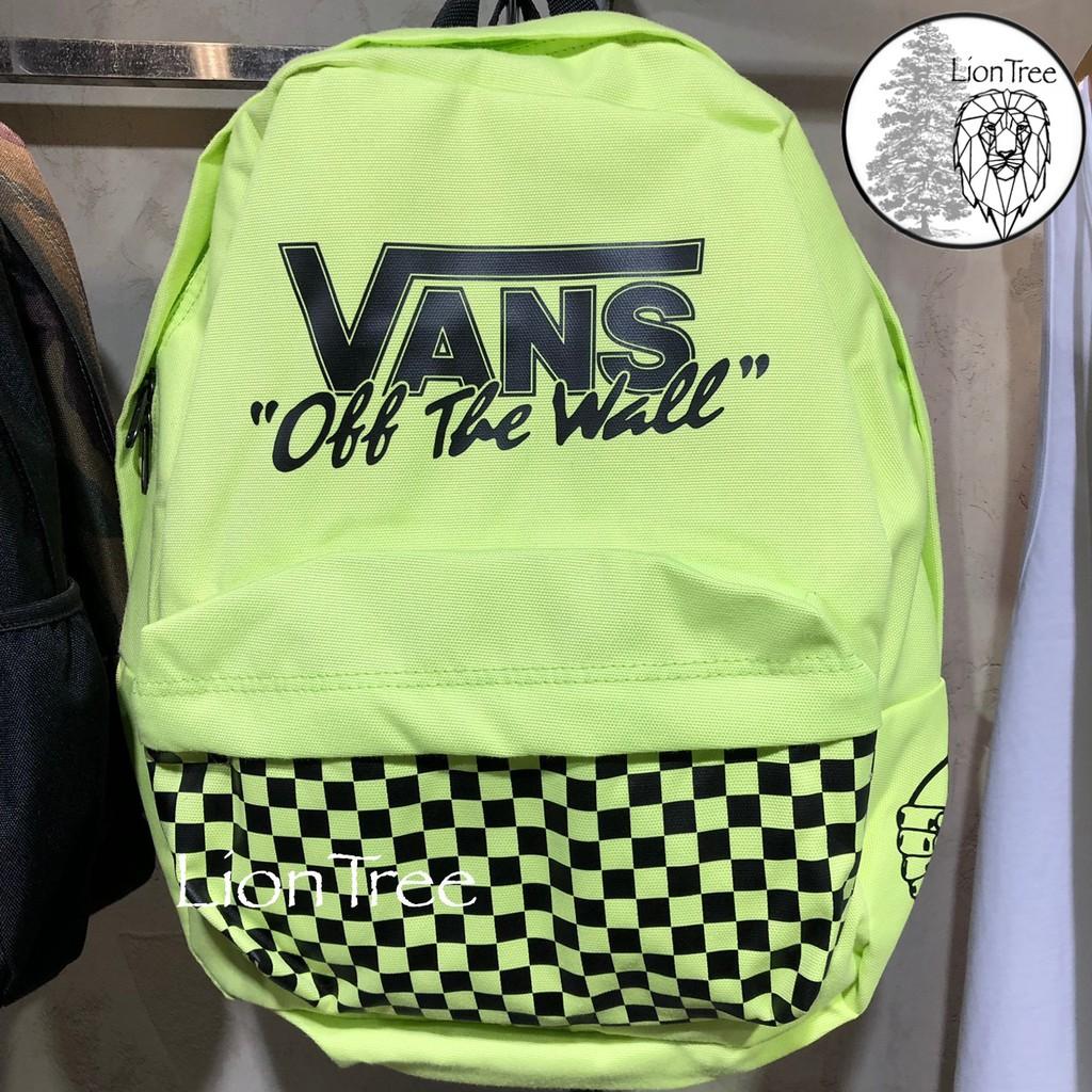 【LionTree】VANS 棋盤格 後背包 螢光綠 黑 LOGO 背包 滑板 品牌 黃色 基本款 FM824189