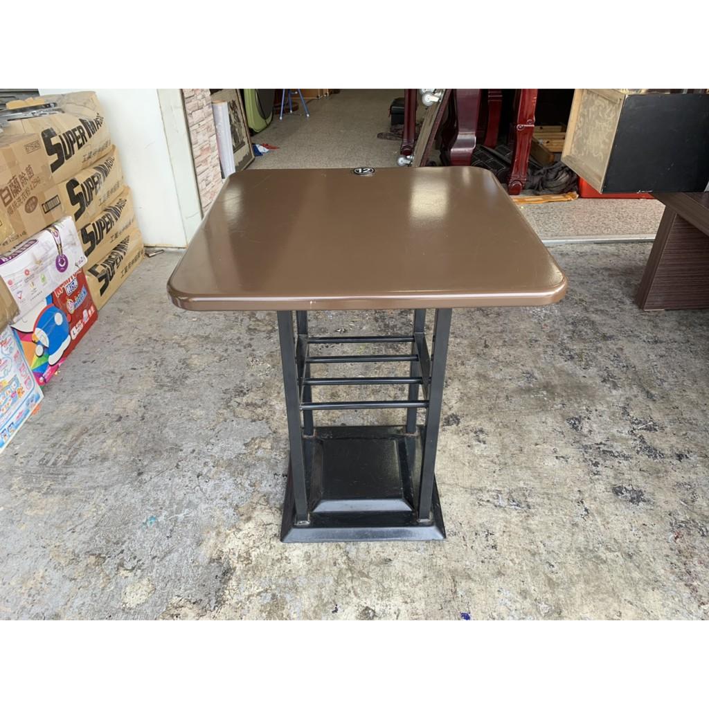 香榭二手家具*胡桃鐵板桌面2尺 正方形簡餐桌-吃飯桌-小吃桌-火鍋桌-餐廳桌-營業桌-咖啡桌-戶外桌-早餐店-中古餐桌