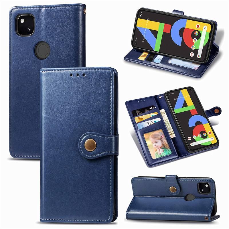 Google Pixel 4a 手機殼翻蓋 Pu 皮革扣錢包手機殼蓋 Google Pixel 4a Pixel4 4x