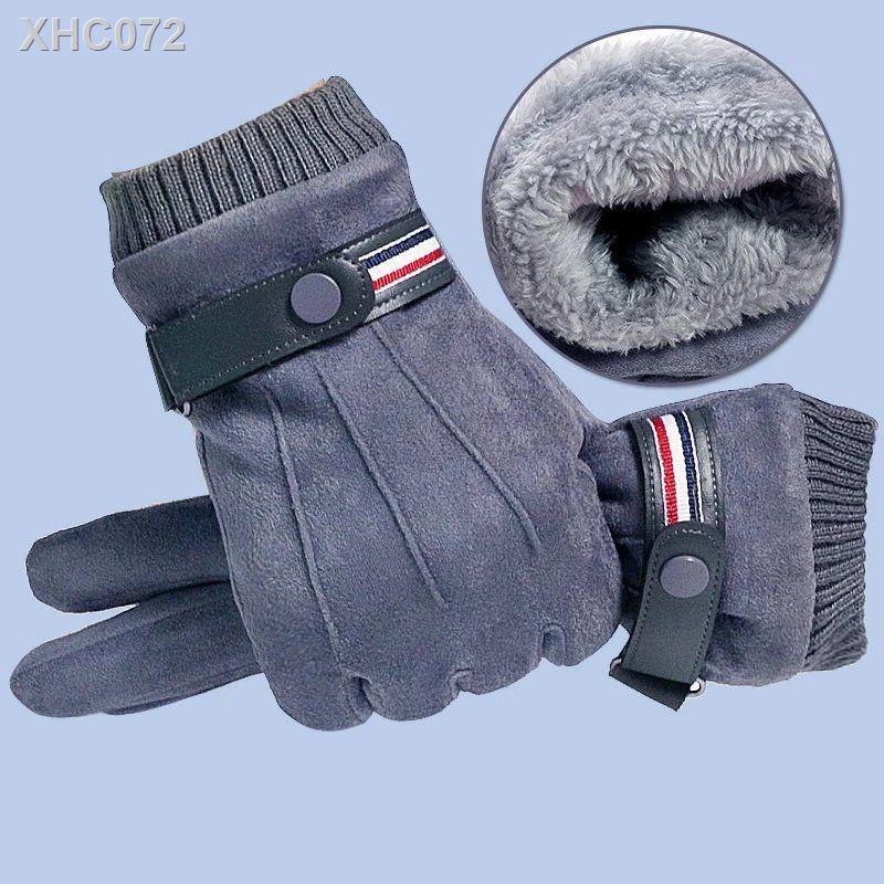 (現貨)機車手套戶外摩托車手套男士防風防寒騎行加厚加絨觸屏外賣騎手麂皮絨保暖