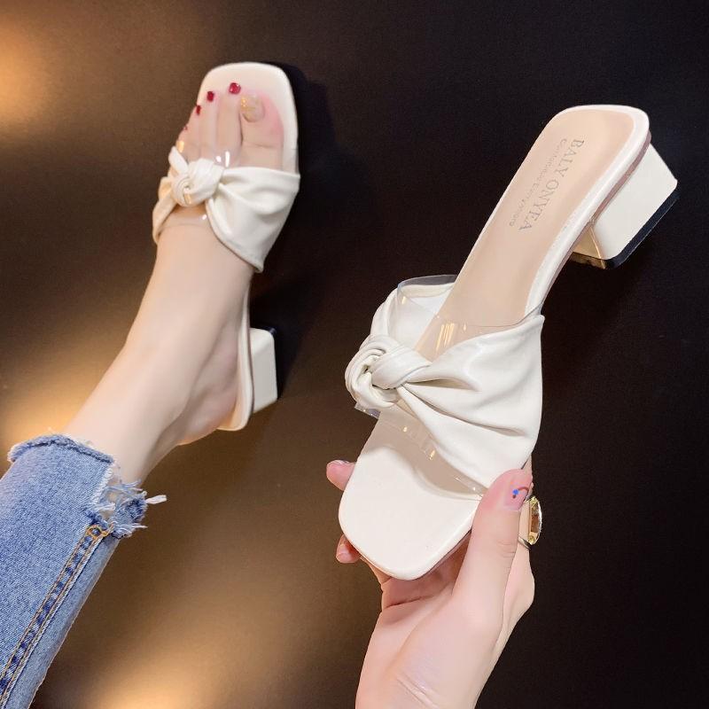 【夏季上新】涼拖鞋女外穿時尚蝴蝶結夏季女鞋2021新款粗跟百搭露趾網紅一字拖