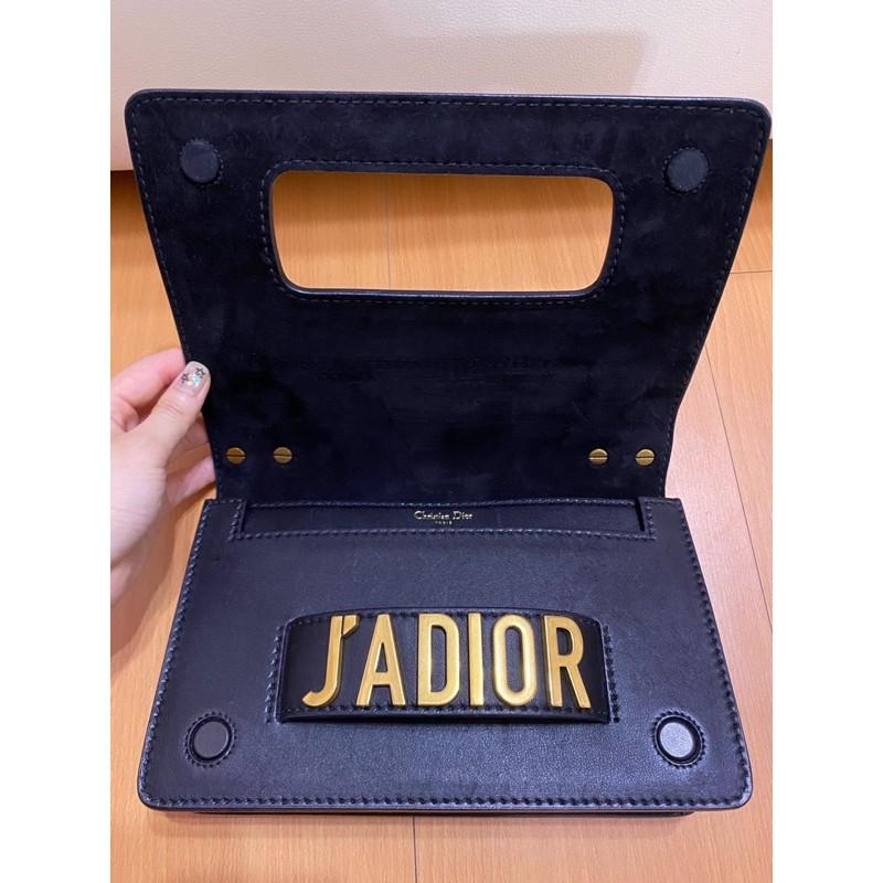 保證正品 Dior J'ADIOR 翻蓋手拿肩背包 黑金 小牛皮