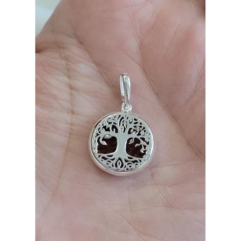 925純銀 琥珀 生命樹 雙面配戴 墜子 項鍊 項鏈 天然琥珀 樹