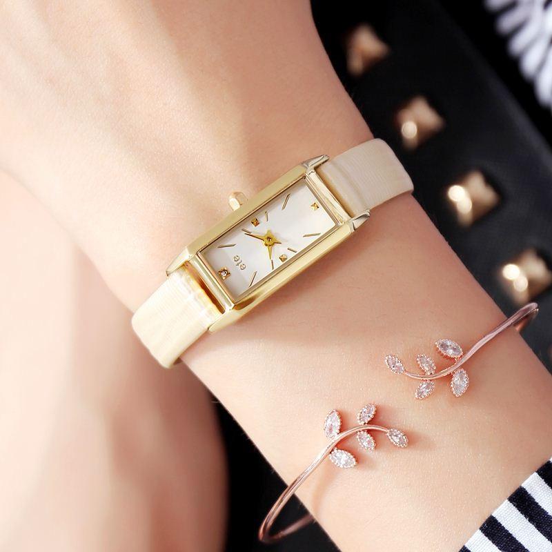 日本小眾石英表ete手錶女士復古ins風簡約日韓腕表小方錶新年禮物