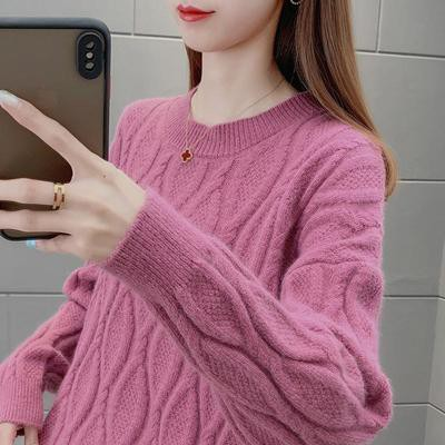 YOUDREW慵懶風麻花毛衣女外穿2021早春新款韓版寬松針織打底衫上衣女