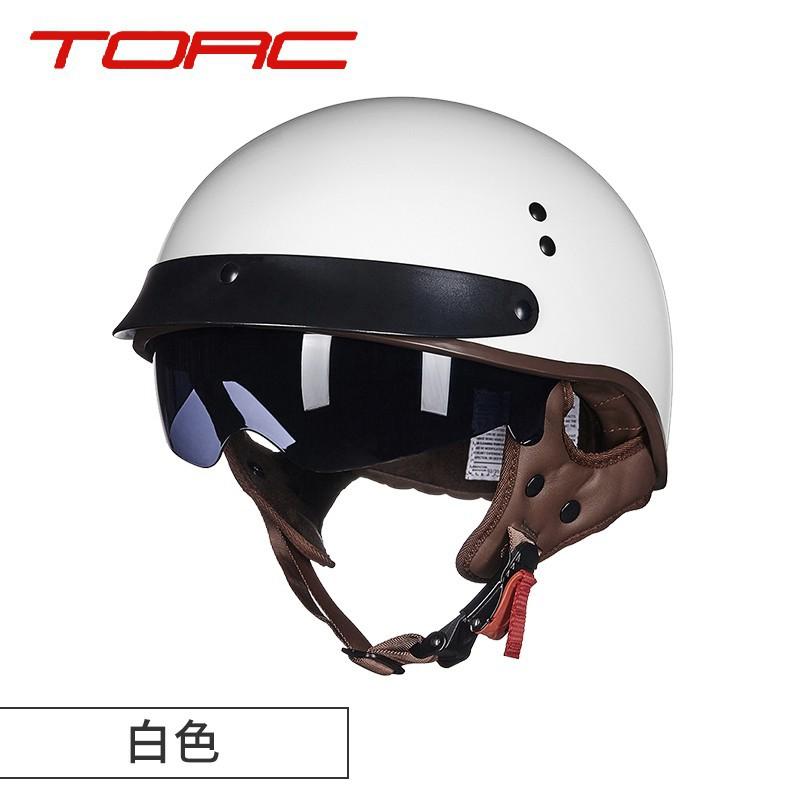 TORC摩托車冬季男女復古頭盔機車輕便覆式半盔電動車安全帽半盔*seaushov/