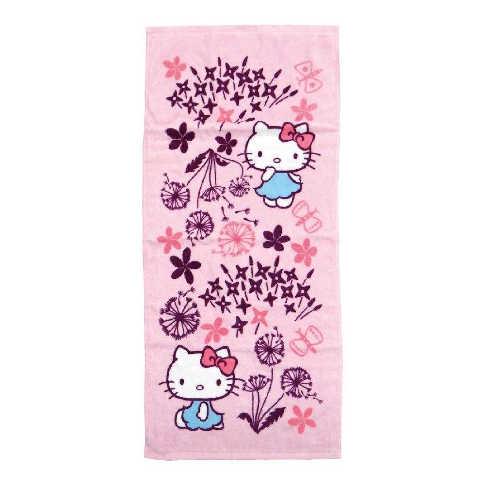 【Sanrio三麗鷗】凱蒂貓x印花樂毛巾-蒲公英100%棉 33x76cm