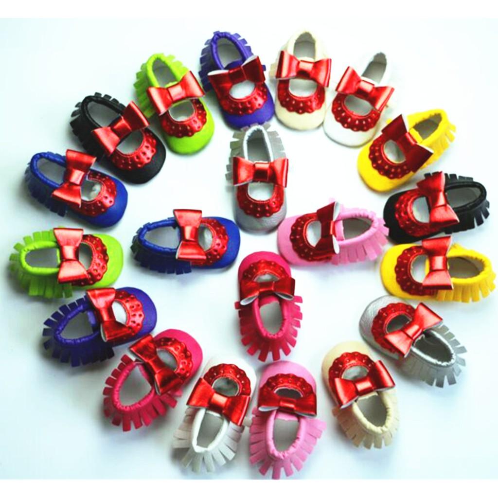 可愛亮紅蝴蝶結流蘇寶寶鞋 嬰兒學步鞋 軟底鞋 童鞋【蘋果小舖】(PL) A75