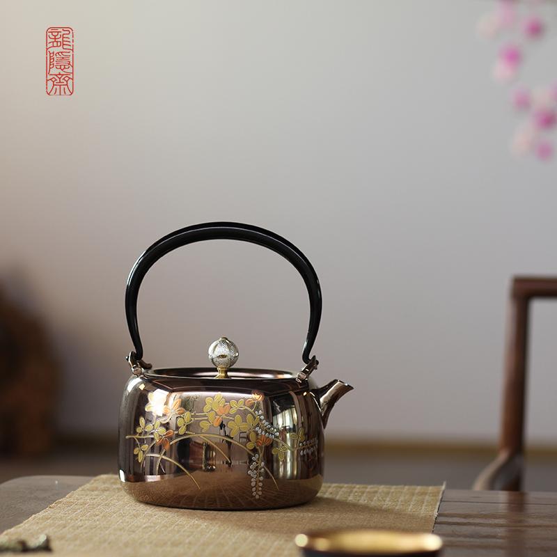 【功夫茶具】龍隱齋 燻金摘鈕304不銹鋼燒水壺煮水壺手工銀壺茶具煮茶 金銀花