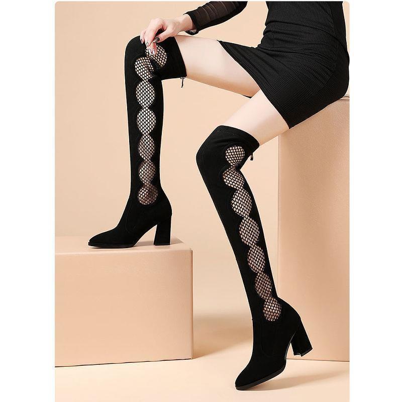 【長筒女靴】長靴女過膝2020新款韓版高筒高跟尖頭顯瘦長筒靴子粗跟瘦腿彈力靴