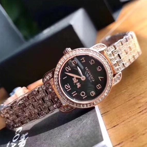 Coach新款限量紐約璀璨之星滿版晶鑽流星雨腕錶~玫瑰金錶帶x黑色錶盤-手錶
