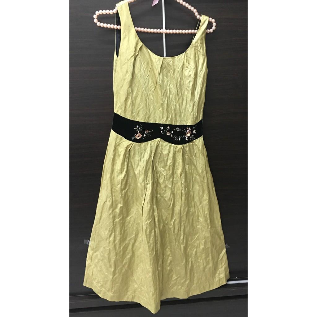 【程寶二手服飾】Anita Su腰圍絨布彩鑽洋裝