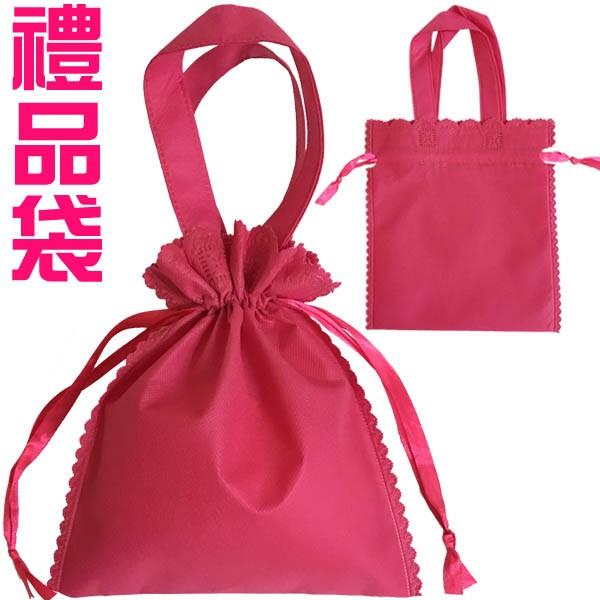 禮品袋 桃紅色兩用束口袋 收納袋 萬用包裝袋 環保袋 不織布背包袋 帆布袋 提袋 贈品 人魚朵朵 台灣出貨 現貨 長期