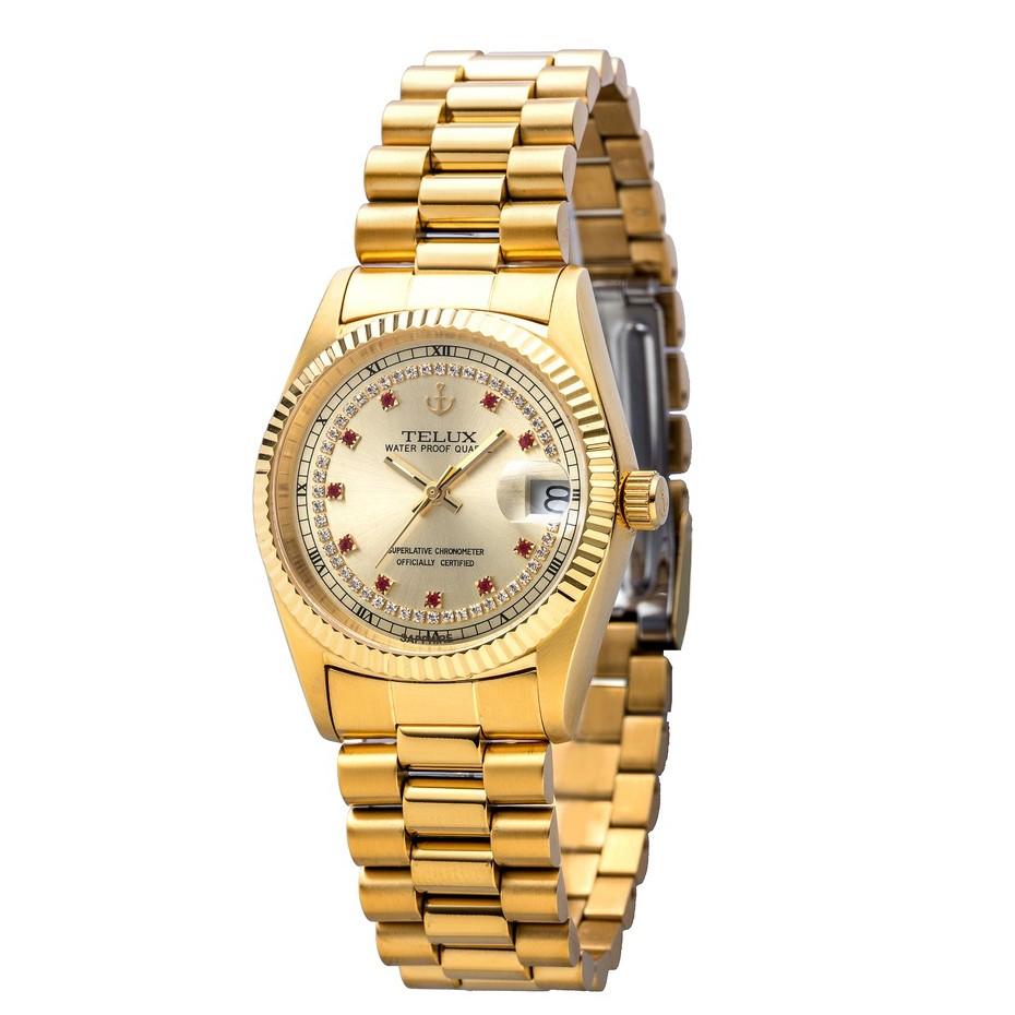 [缺貨中]台灣品牌手錶腕錶【TELUX鐵力士】尊爵系列經典男錶36mm-另有女款 台灣製造石英金錶-7910GA-G03