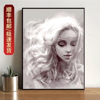 diy數字油畫 客廳臥室風景人物大幅情侶填色手繪油彩裝飾畫夢想