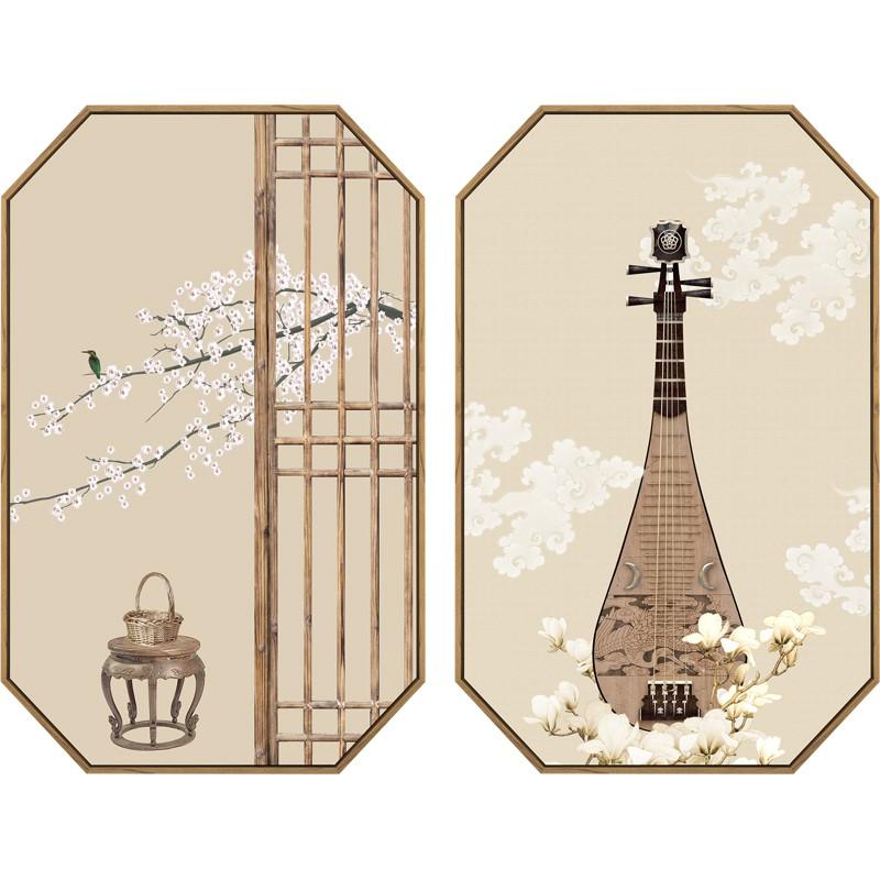 【全館免運】靜日習藝新中式禪意裝飾畫客廳掛畫書房日式和風古風餐廳茶室壁畫